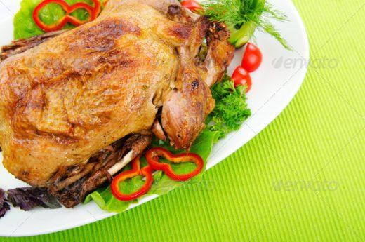 Roasted turkey chicken